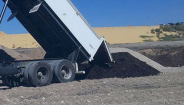 One of our trucks delivering soil and sand in Perth