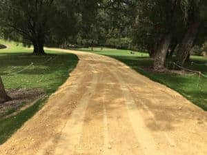 a completed road track access job at a Perth park